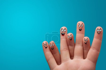 Photo for Happy face fingers hug each other - Royalty Free Image