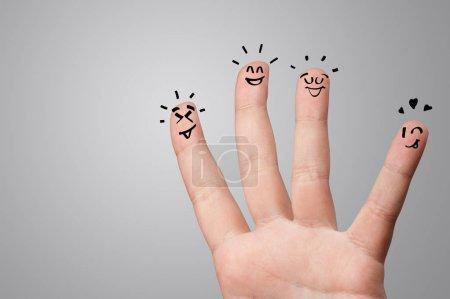 Foto de Waggish dedos felices con el concepto de team building - Imagen libre de derechos