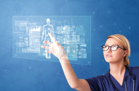 Photo for Doctor touching blue screen with full body analyze concept - Royalty Free Image