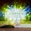COLLEGE STUDENT inscription coming out from an ope...