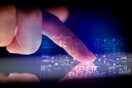 Photo for Finger touching tablet with web technology icons and GENETIC ENGINEERING inscription - Royalty Free Image