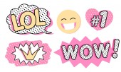 Set of cute vector stickers Bubble for text princess crown WOW LOL icons and laughing emoji Pink color with black doodle stroke and dots Pop art doll style Photo booth props for birthday party