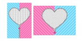 Open heart zipper with cute lock on bright blue pink background Striped pattern for Lol Doll Surprise girly party Birthday invitation template with round zip Unzipped vector border design element