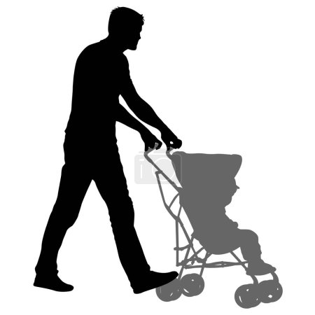 Silhouettes walkings father with baby strollers on...