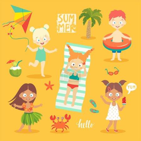 Illustration pour Summer Kids ensemble, nager, jouer sur la plage et s'amuser. Illustration vectorielle . - image libre de droit