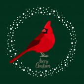 Cardinal bird Vector illustration Merry Christmas card