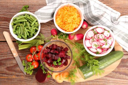 healthy vegetable salads on table