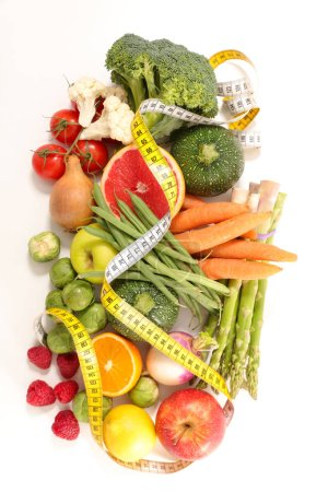 fruits and vegetables and measurement tape