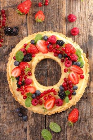 Photo for Fruit tart and cream close up shot - Royalty Free Image