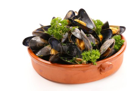 close-up photo of boiled mussel and parsley