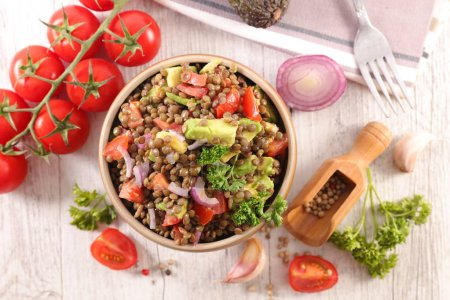 Photo for Lentil with avocado, tomatoes and onion - Royalty Free Image