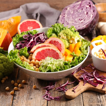 Photo for Close up view of food composition with mixed vegetable salad - Royalty Free Image