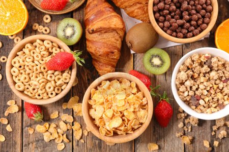 Photo for View from above of breakfast cereal assorted - Royalty Free Image
