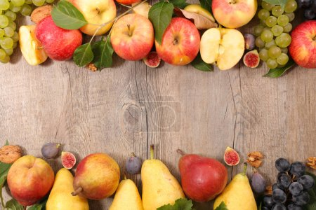 Photo for Autumn fruit with apple, pear,fig and grapes - Royalty Free Image