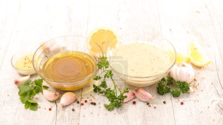 Photo for Salad sauce with mustard, oil, garlic - Royalty Free Image