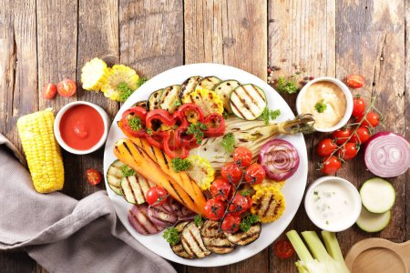 Photo for Grilled vegetable and dip- vegetarian barbecue - Royalty Free Image