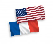 Flags of France and America on a white background