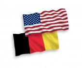 Flags of Belgium and America on a white background