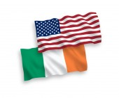 Flags of Ireland and America on a white background