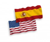 Flags of Spain and America on a white background