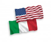 Flags of Italy and America on a white background