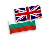 Flags of Bulgaria and Great Britain on a white background