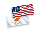 Flags of Cyprus and America on a white background