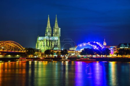 View of Cologne city lights at night