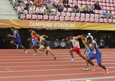 TAMPERE, FINLAND, July 11: LALU MUHAMMAD ZOHRI (Indonesia),DAISUKE MIYAMOTO (JPN),ANTHONY SCHWARTZ (USA) on 100 metrs Semi-Final on IAAF World U20 Championship in Tampere, Finland 11 July, 2018.