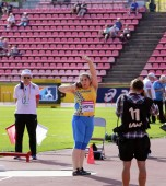 TAMPERE, FINLAND,  July 11:  HANNA KHOPYAK from Ukraine in the shot put final at the IAAF World U20 Championships in Tampere, Finland on July 11, 2018.