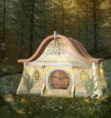 Fantasy enchanted house in a blooming forest - 3D illustration