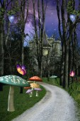 Enchanted pathway in the forest taking to a magic castle  3D illustration