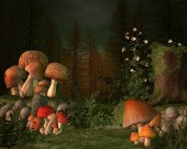 Mushrooms enchanted place in a firs forest - 3D illustration