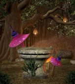 Old pedestal in the middle of the forest with colourful mushrooms, 3D illustration