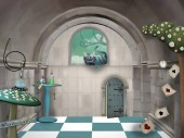 Surreal room in wonderland with a Cheshire cat and a table