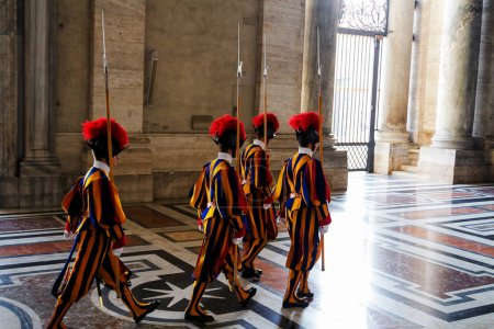 Photo for Swiss Guard in St Peter's Basilica, Vatican - Royalty Free Image