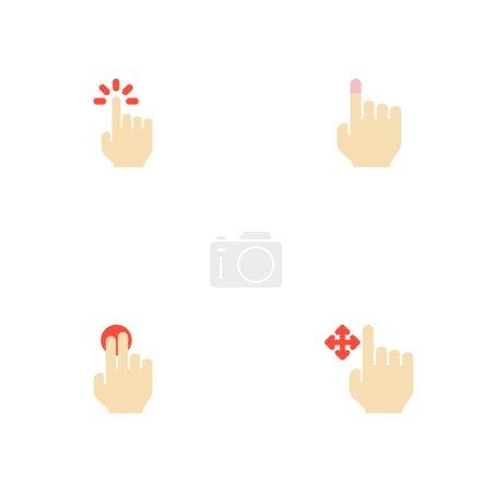 Photo pour Ensemble d'icônes de gestes symboles de style plat avec maintien, glisser, toucher doux et autres icônes pour la conception du logo de votre application mobile Web . - image libre de droit