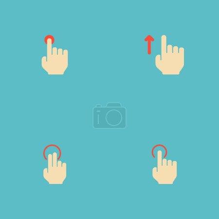 Satz Gesten-Symbole flache Stil-Symbole mit Anstoß, oben, Presse und andere Symbole für Ihre Web-Mobile-App-Logo-Design.