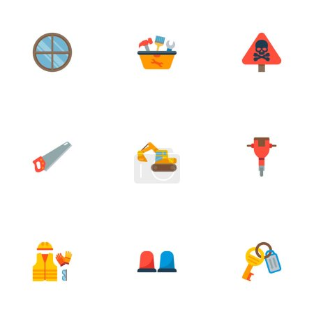 Photo for Set of construction icons flat style symbols with keys, jackhammer, tool in box and other icons for your web mobile app logo design. - Royalty Free Image