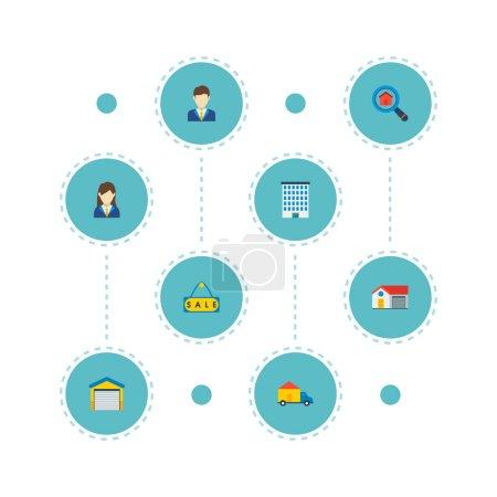 Photo pour Jeu de propriété icônes style plat symboles avec le courtier, garage, maison et autres icônes pour votre création de logo web application mobile. - image libre de droit