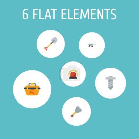 Set of construction icons flat style symbols with ...