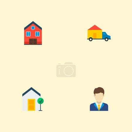 Photo pour La valeur des symboles plat style icônes immeuble dont la propriété maison, bonne, agent immobilier et autres icônes pour votre logo d'application mobile web design. - image libre de droit