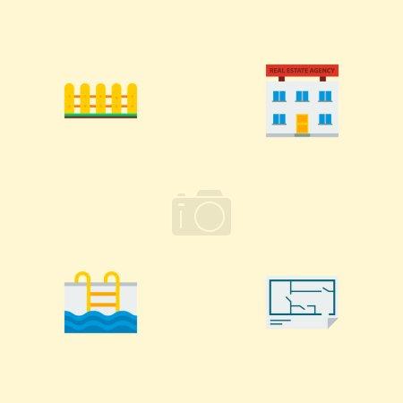 Photo pour Ensemble d'icônes immobiles symboles de style plat avec clôture, plan d'étage, bureau et autres icônes pour la conception du logo de votre application mobile Web . - image libre de droit