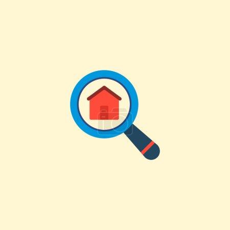 Photo pour Élément plat icône recherche immobilier. illustration de l'icône de recherche immobilier plat isolé sur fond propre pour votre création de logo web application mobile. - image libre de droit