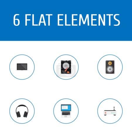 Photo pour Ensemble d'ordinateur icônes style plat symboles avec casque, portable, modem et autres icônes pour votre création de logo web application mobile. - image libre de droit