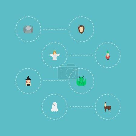 Photo pour Jeu de fantasy icônes style plat symboles avec centaure, ghost, chimère et autres icônes pour votre création de logo web application mobile. - image libre de droit