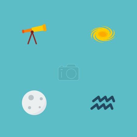 Photo pour Ensemble d'astrologie icônes style plat symboles avec galaxie, télescope, aqurius et autres icônes pour votre création de logo web application mobile. - image libre de droit