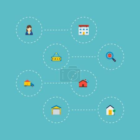 Photo pour Ensemble de realestate icônes style plat symboles avec office, bien immobilier, recherche immobilier et autres icônes pour votre création de logo web application mobile. - image libre de droit