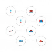 Set of famous icons flat style symbols with giza academy niagara falls and other icons for your web mobile app logo design