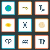 Set of galaxy icons flat style symbols with globe aries asteroid and other icons for your web mobile app logo design